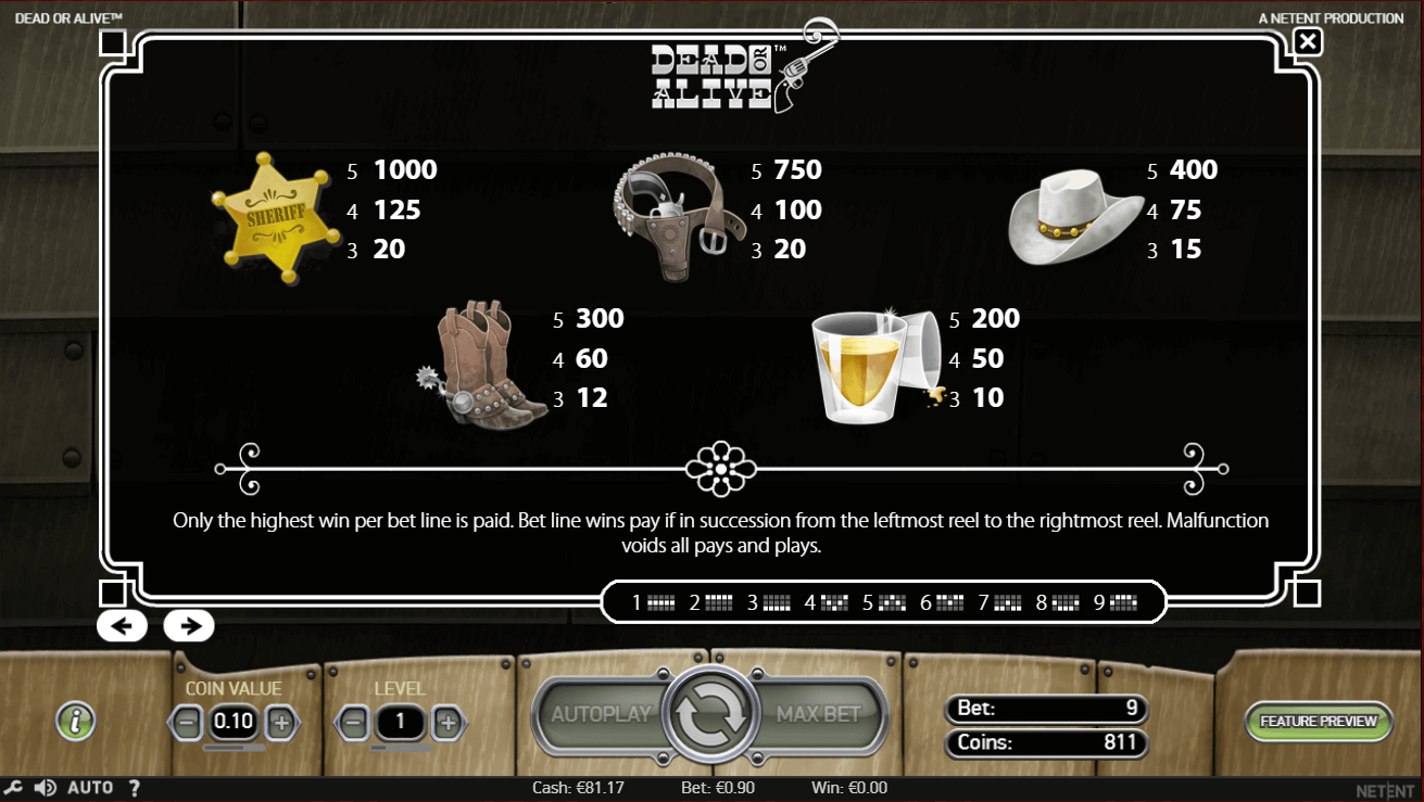 Dead or Alive Slot Symbols