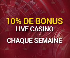 10% de Cashback sur le casino en direct