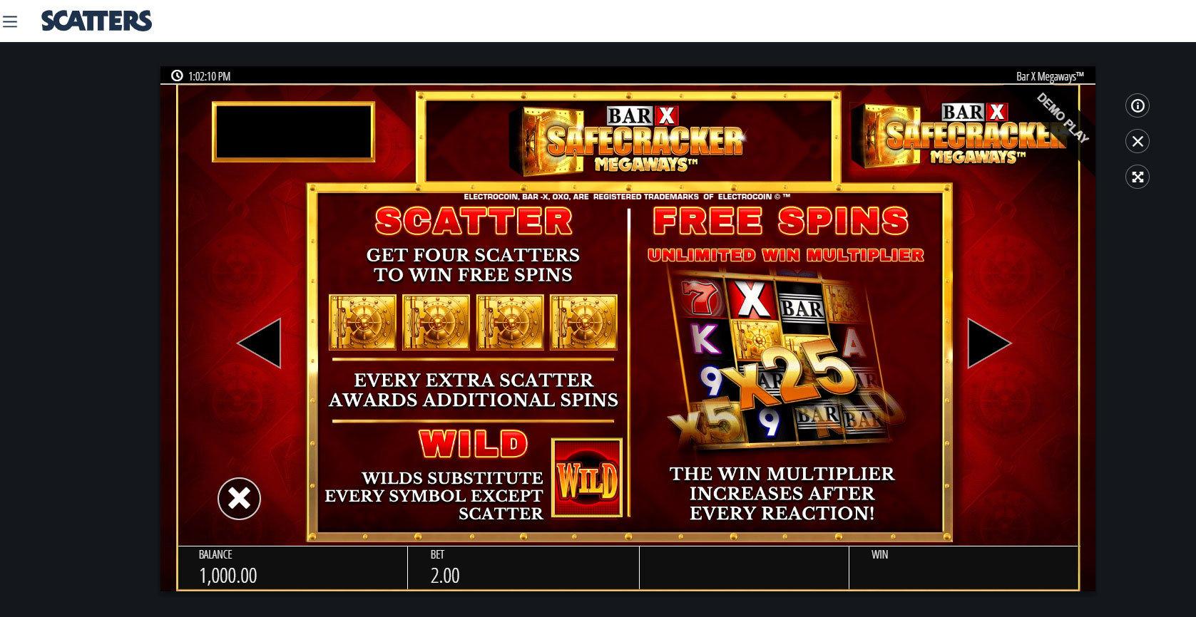 Megaways Slots: Bar X Safecracker - Scatters Online Casino