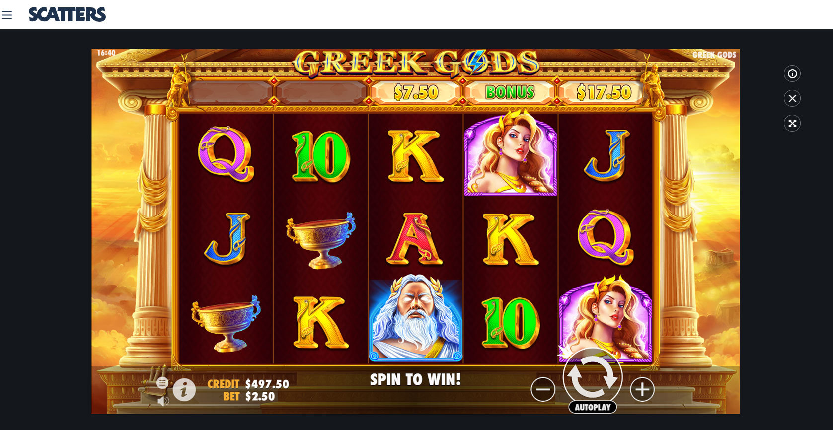 Greek Gods Online Slot - Scatters Slots Casino