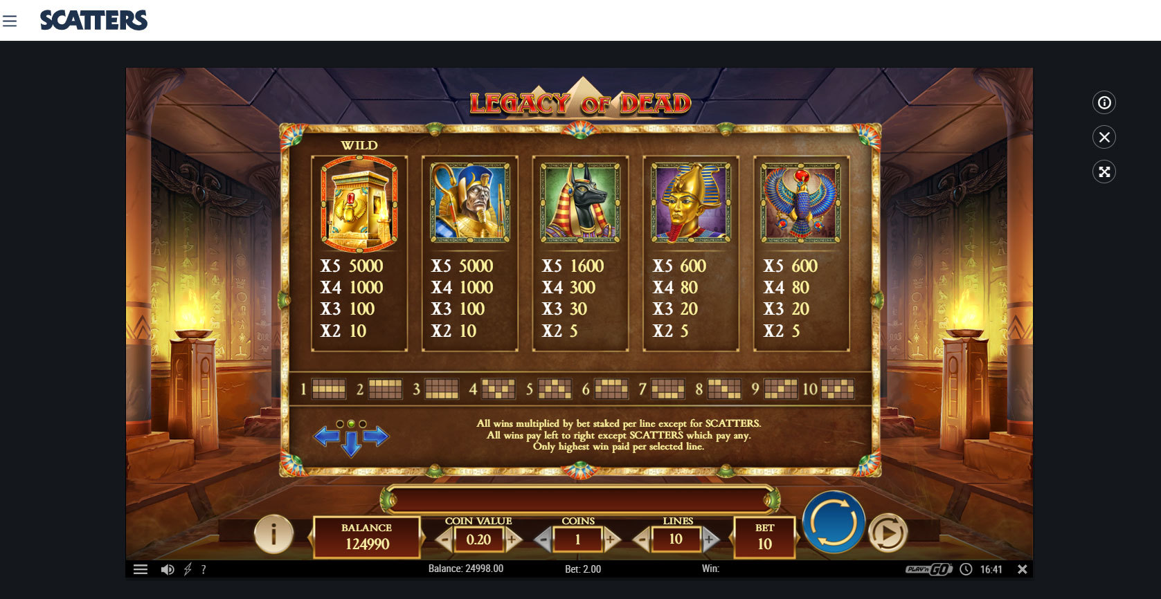 Play Legacy of Dead Slot by Play'n go at Scatters Casino