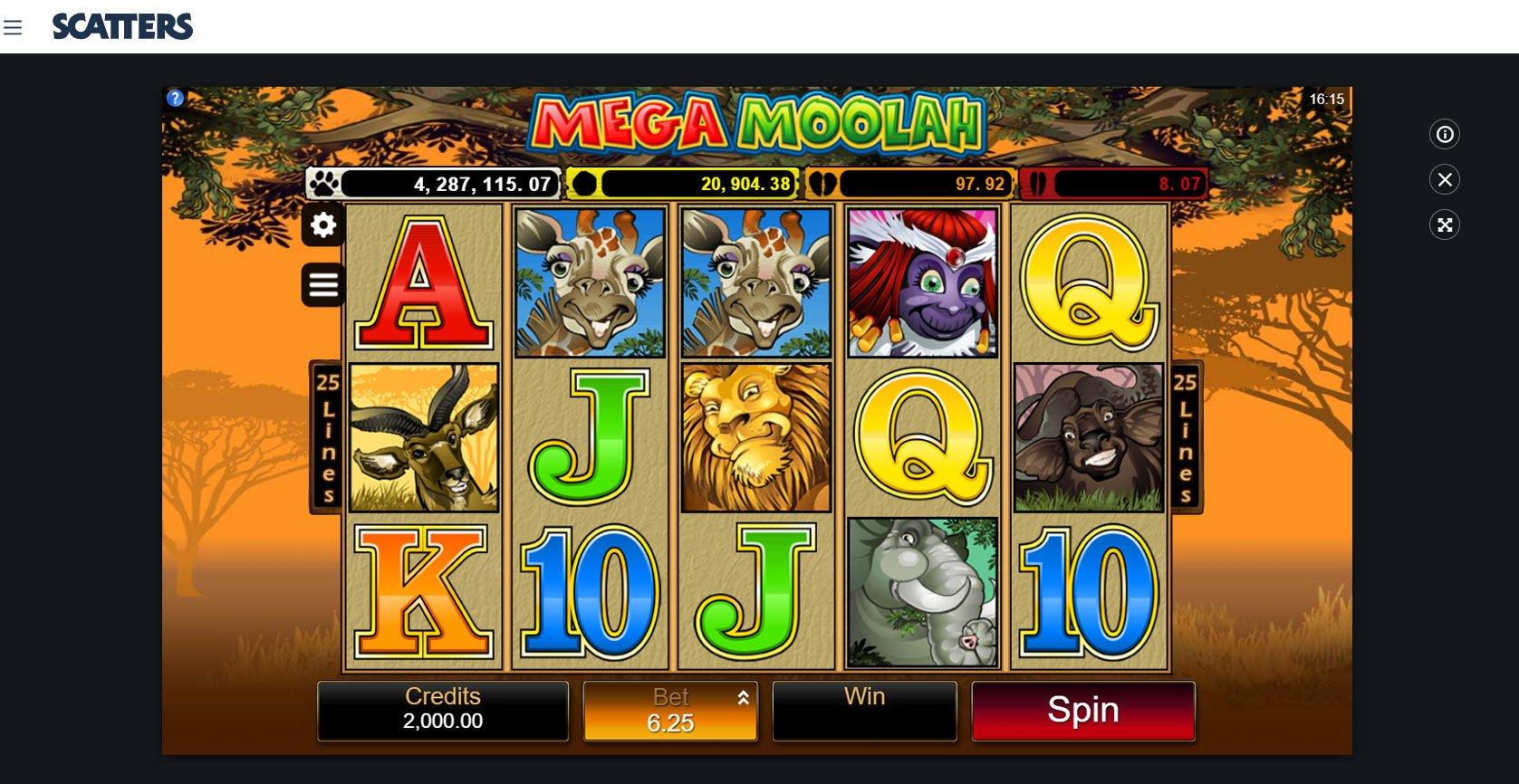 Mega Moolah Jackpot - Scatters Slots Casino
