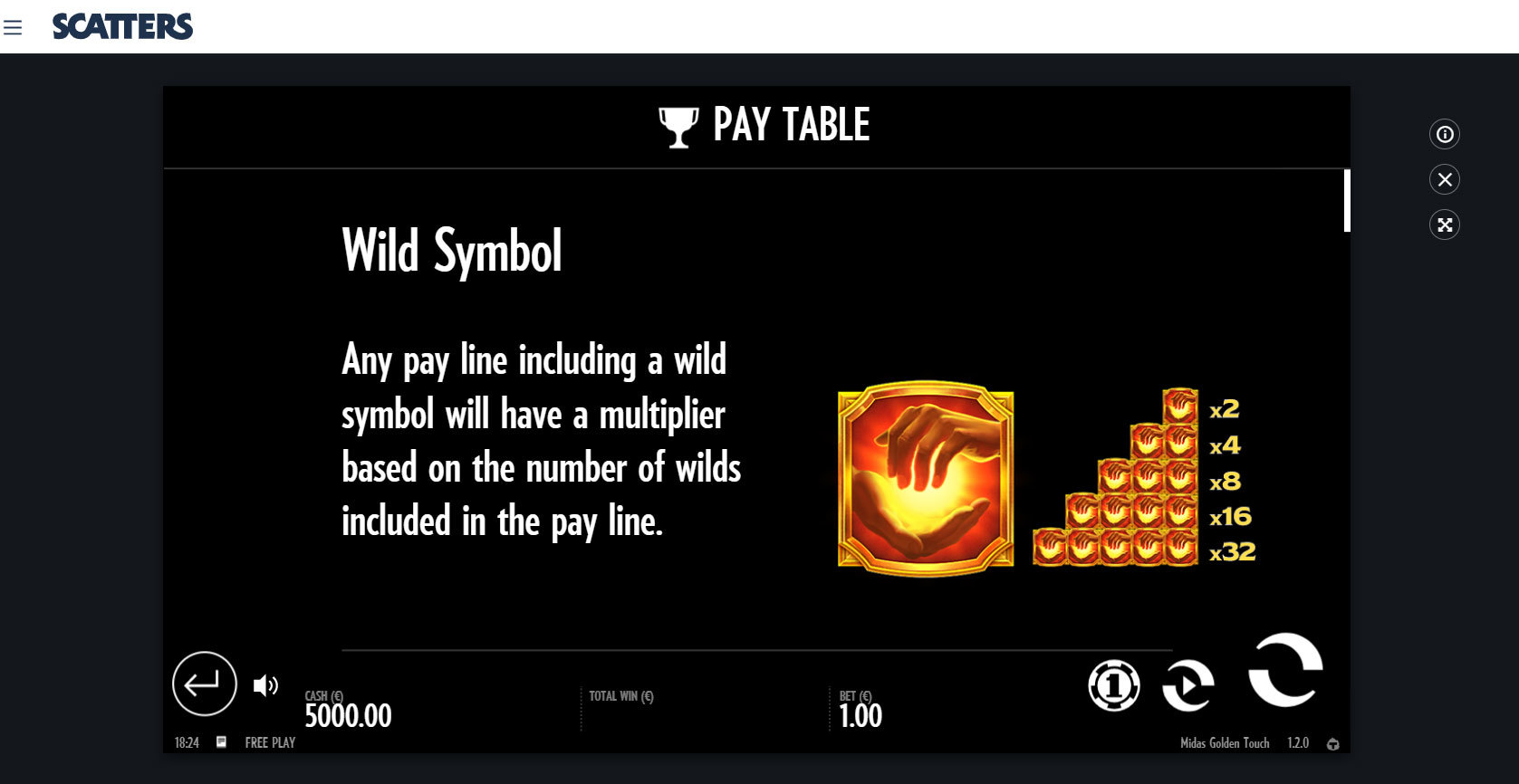 Play Midas Golden Touch by Thunderkick for Free or Real Money at Scatters Casino