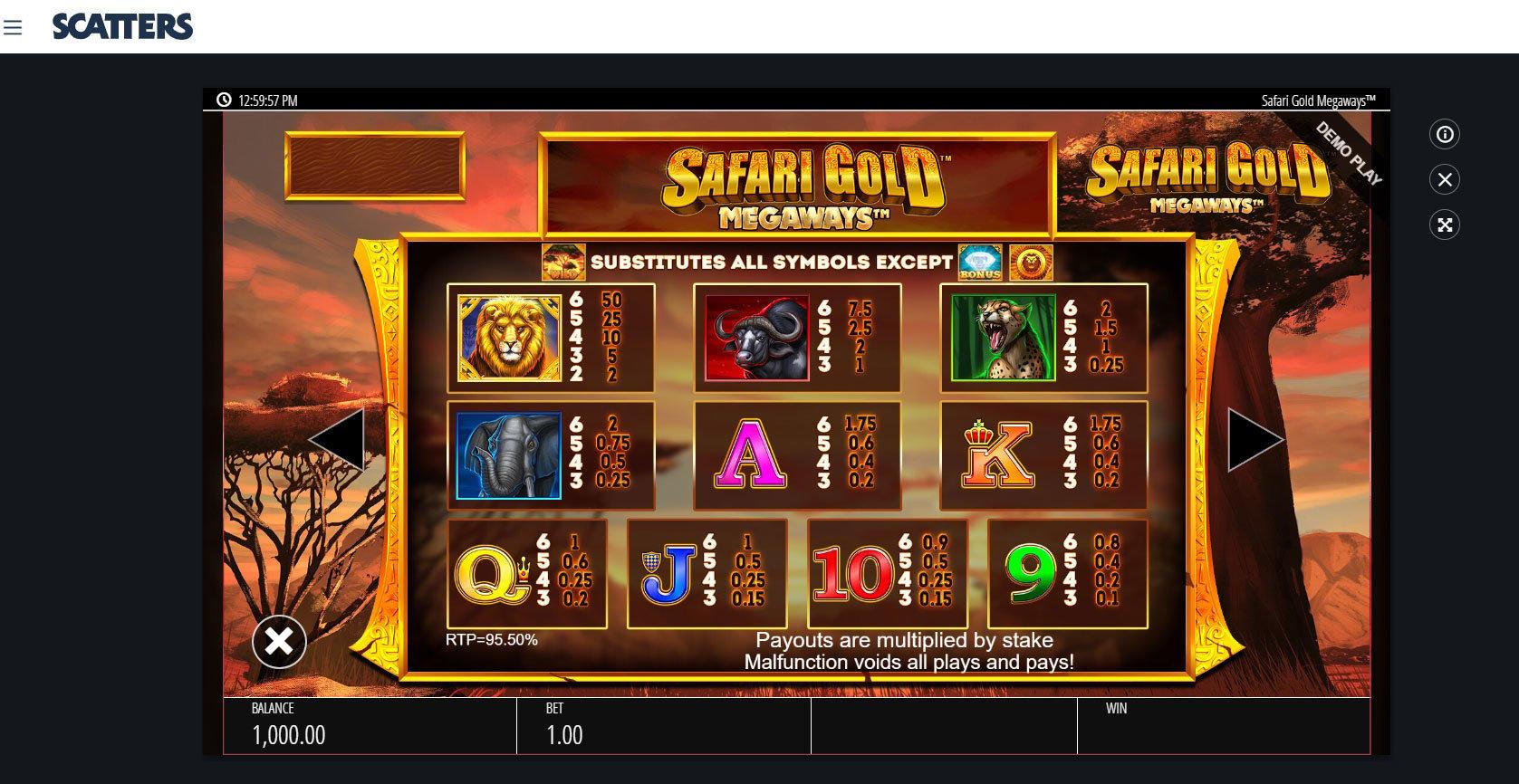 Megaways Slots: Safari Gold - Scatters Online Casino