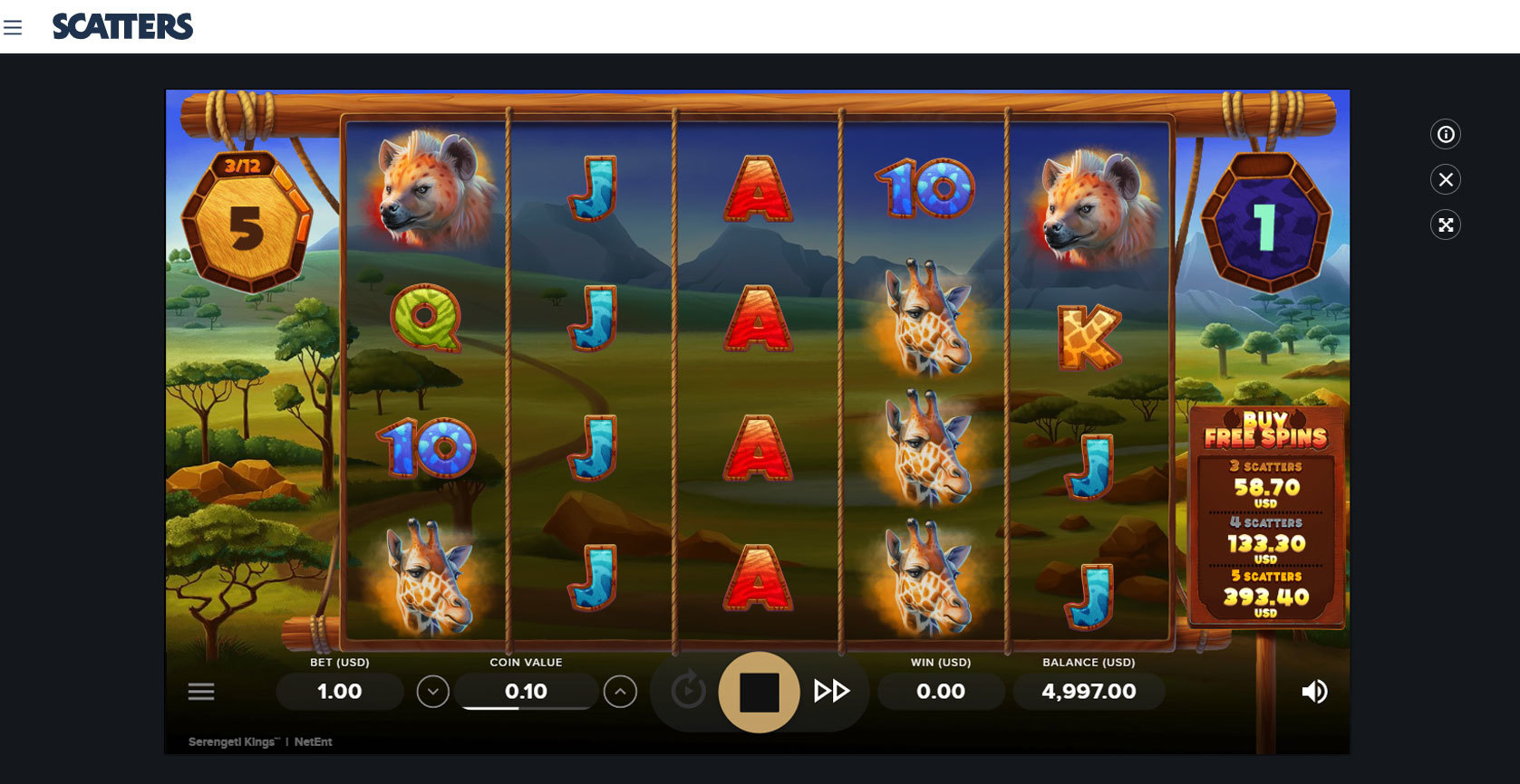 Play Serengeti Kings Slot by Netent for Free or Real Money at Scatters