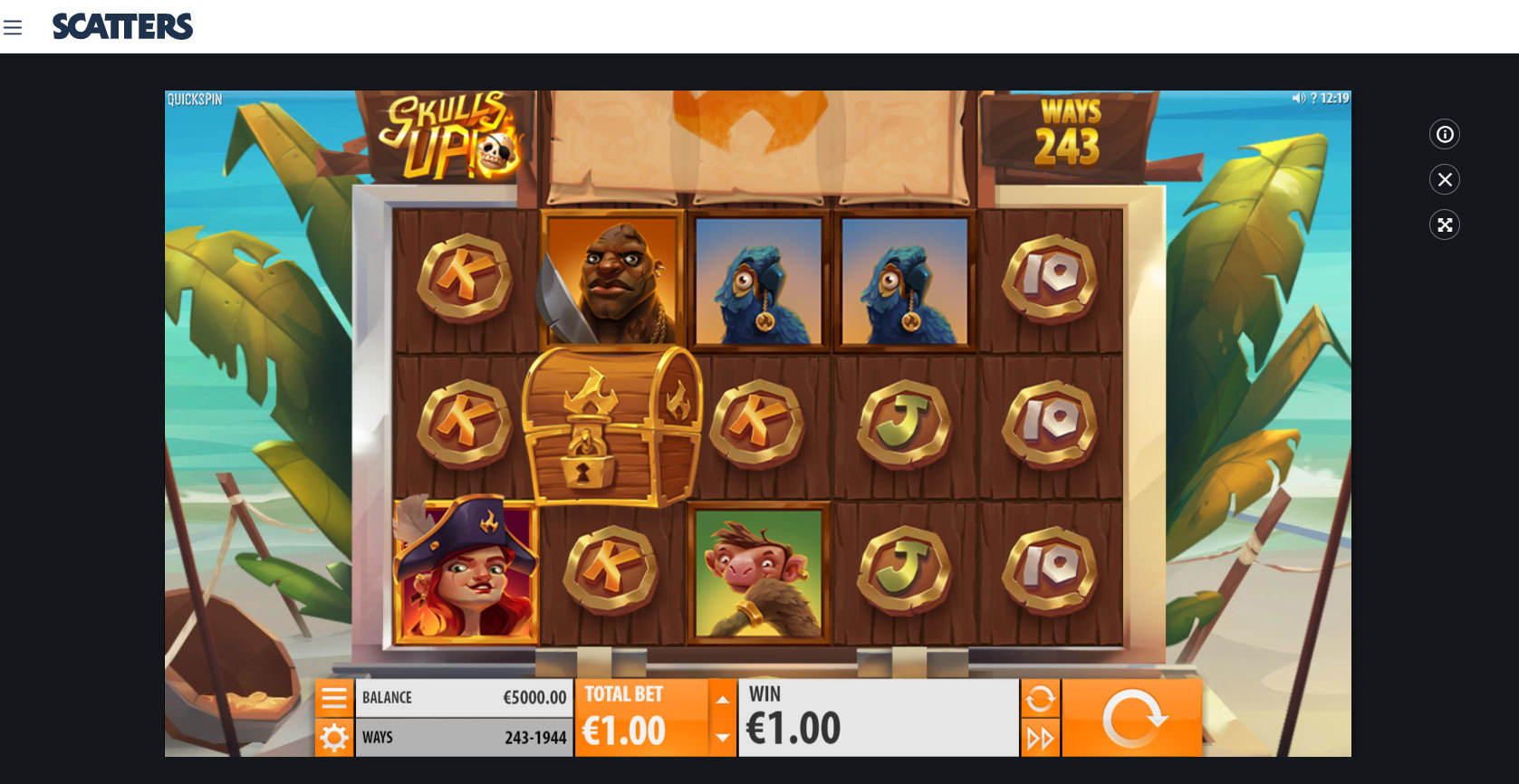 Play Skulls UP! online slot by Quickspin at Scatters Casino