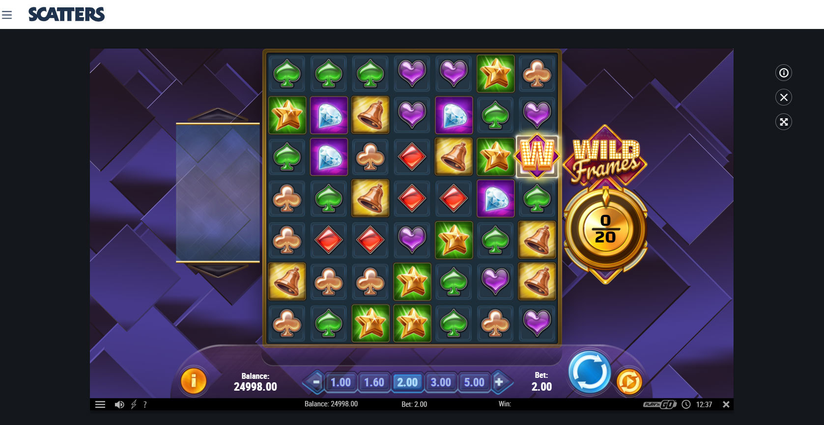 """Play """"Wild Frames Online Slot"""" at Scatters Slots Casino"""