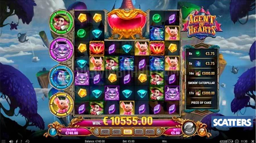Agent of Hearts Slot by Play'n GO - Cluster Paying Grid Setup
