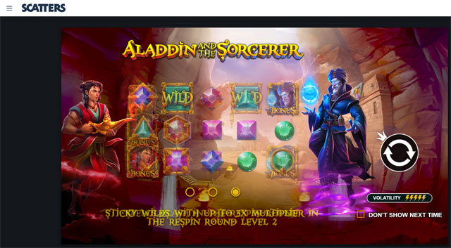 Aladdin and the Sorcerer Slot by Pragmatic Play at Scatters Online Casino