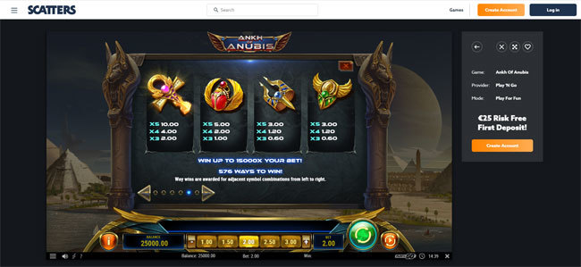 Ankh of Anubis online video slot by Play'n Go - Scatters Online Casino