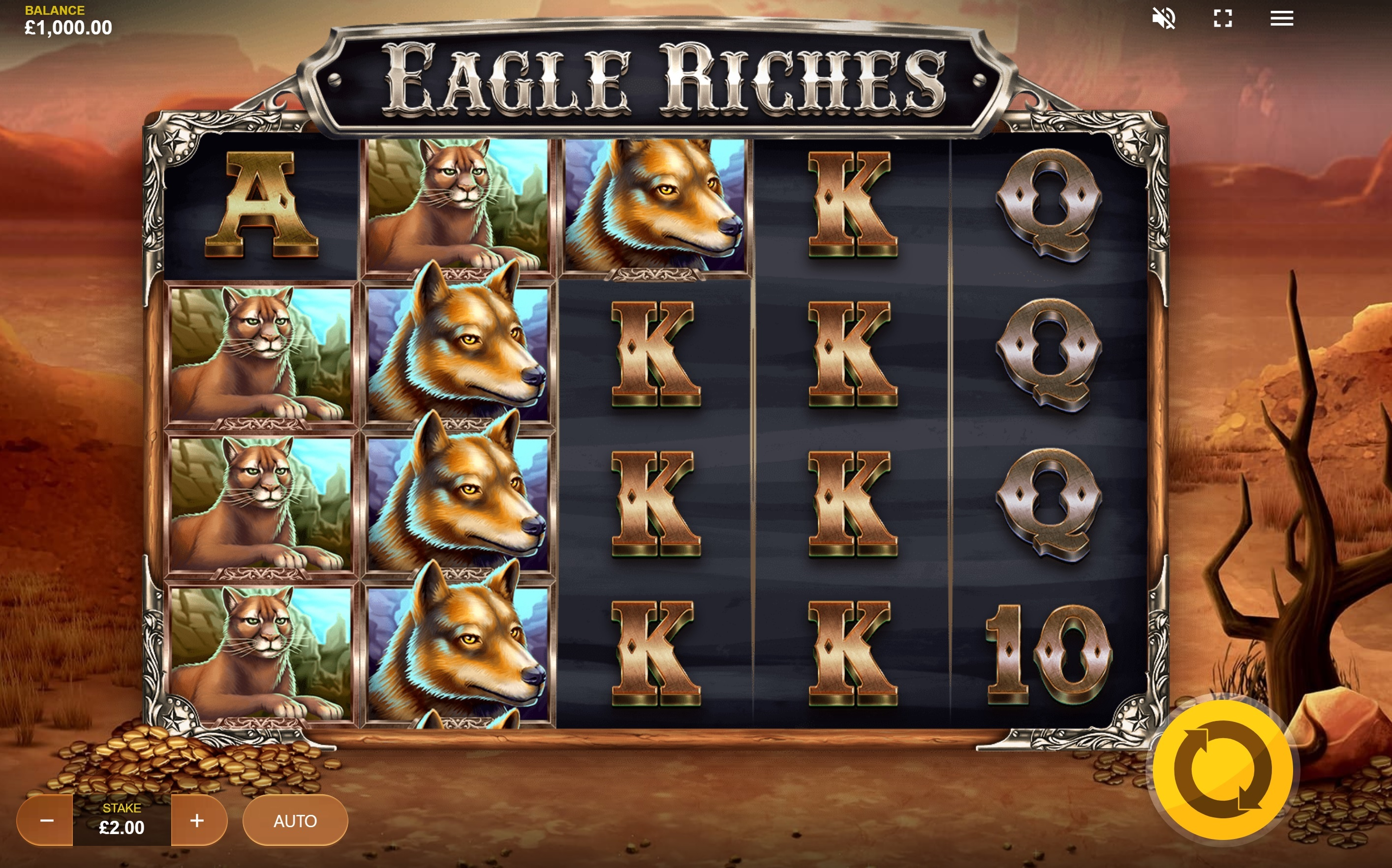 Eagle Riches online slot from Red Tiger Gaming at Scatters Online Casino