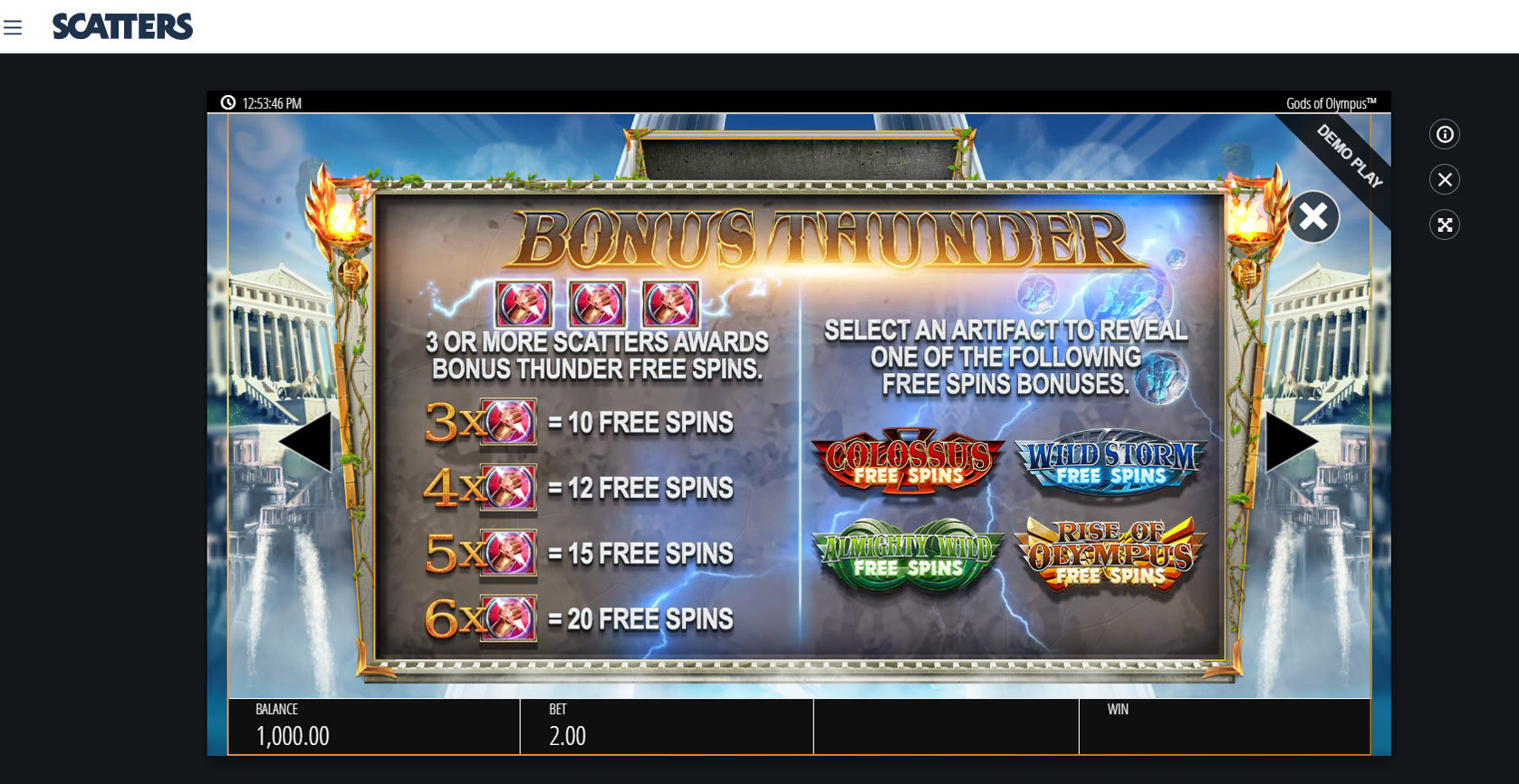 Megaways Slots: Gods of Olympia - Scatters Online Casino