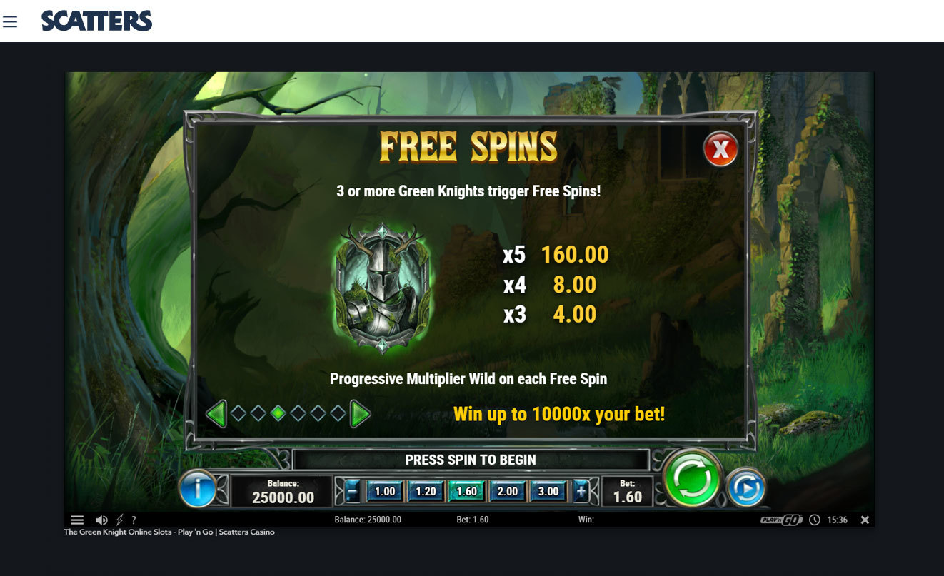 Green Knight Slot Free Spins - Play'n Go - Scatters Casino
