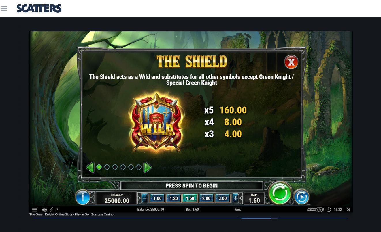 Green Knight Slot Wild Symbol - Play'n Go - Scatters Casino