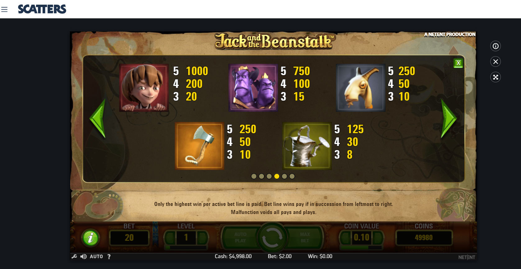 Play Jack and the Beanstalk by netent for Free or Real Money at Scatters Casino