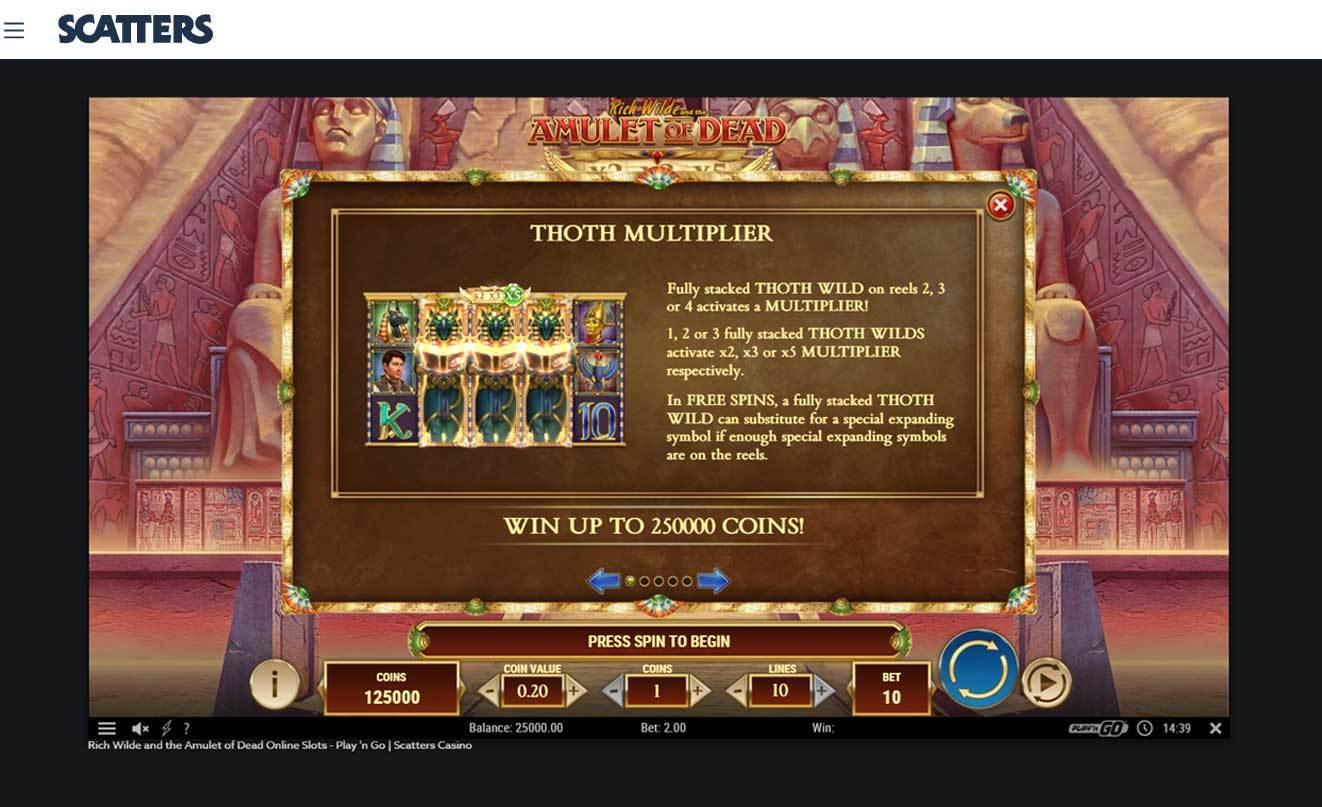 Rich Wilde Amulet of Death Slot Machine Game - Toth multiplier
