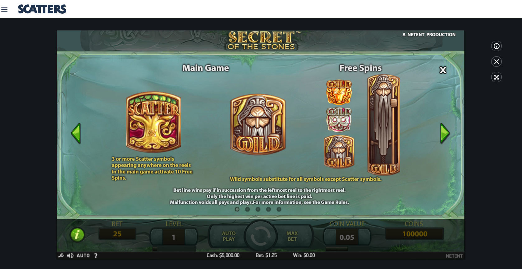 Play Secrets of the Stones by Netent for Free or Real Money at Scatters Casino